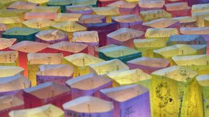 Floating candle lanterns fill a river on August 6, 2015, in Hiroshima, Japan. The lanterns, thousands of which were launched on the 70th anniversary of the atomic bombing of the city, bear handmade messages and drawings, conveying each person's prayers for peace and comfort for the victims of the violence.